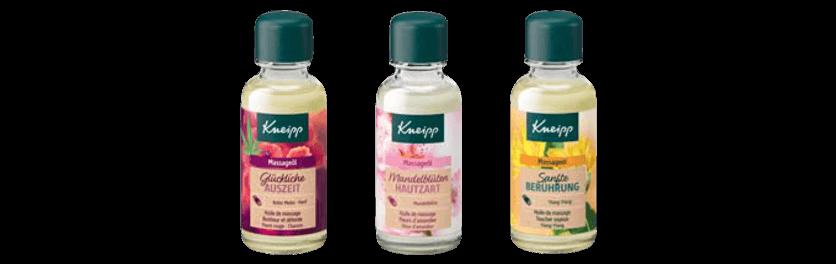 Tři masážní oleje obsažené v adventním kalendáři Kneipp