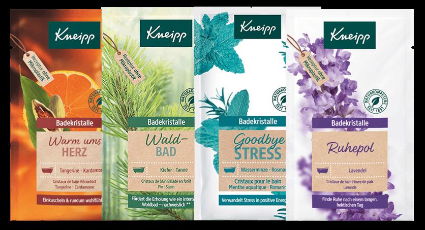 Čtyři koupelové soli obsažené v adventním kalendáři Kneipp