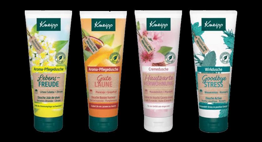 Čtyři sprchové gely obsažené v adventním kalendáři Kneipp